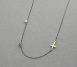 925 sterling silver Tiny Sideways Cross pendant with swarovski stone necklace