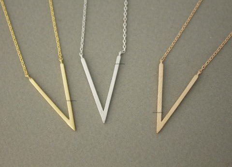 Geometric Skinny deep V Necklace in 3 colors(925 sterling silver / plated over Brass) , N0733K