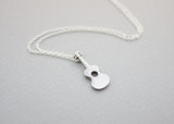 925 Sterling Silver Acoustic Guitar Charm Necklace, Musician Necklace, Music Instrument Necklace