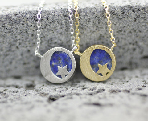 Crescent moon and Star with Lapis Lazuli Gemstone Pendant Necklace in 2 colors