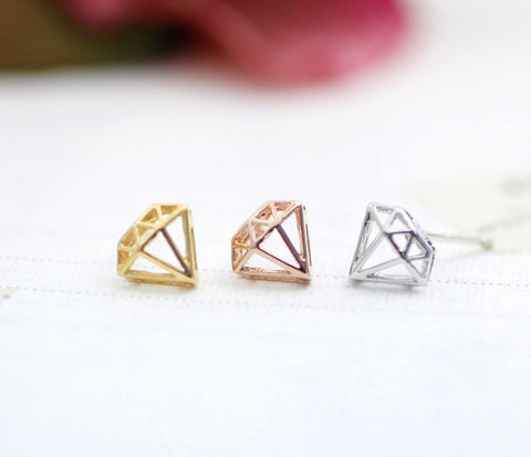 Diamond Shape Cutout studs earrings in gold / silver / pink gold