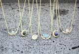 Crescent moon Pendant Necklace with Gemstone, Moon Phases and Gemstone Necklace