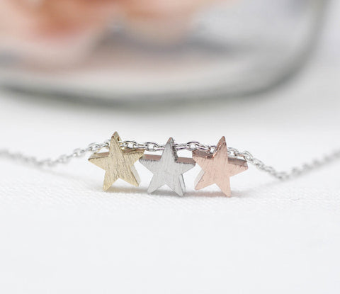 Three Stars necklace,star necklace, star pendant necklace