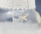 Shooting Star Brass Charm  pendant Necklaces in Gold / Silver
