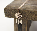 Dreamcatcher Necklace Dream Catcher Boho with Feathers Necklace in 3 colors(925 sterling silver / plated over Brass) , N0334K