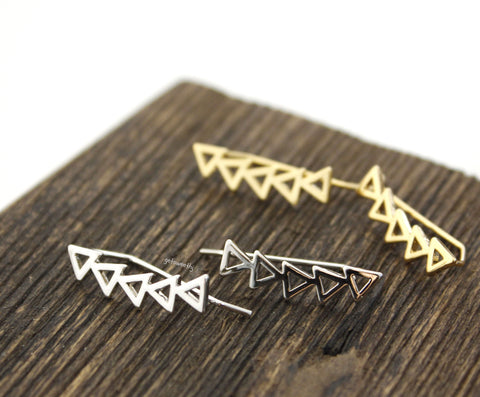 Geometric triangle in line earrings -  Earcuff style Stud Earrings in gold / silver, E0337S