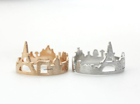 Cityscape Ring, Skyline ring- Paris, adjustable ring in 3 colors(925 sterling silver / plated over Brass) R0318K