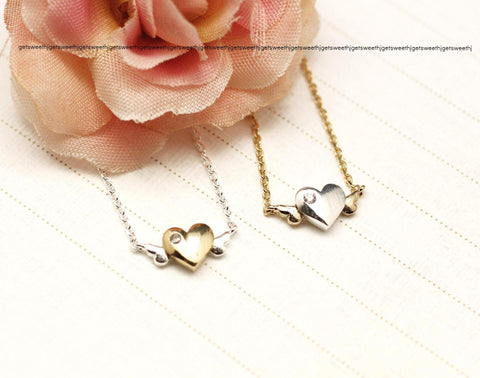 Cute Tiny Heart with Wings Necklace in Gold / Silver