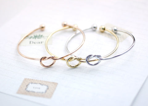 Heart Knot Bangle Bracelet Choose your color and Materials (Gold/Silver/Pink Gold) and (925 sterling silver / plated over Brass), B0098S