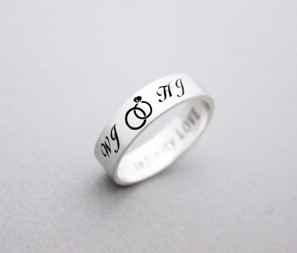 925 Sterling Silver Infinity And Initials Engraved Couples Ringengagement Ring Custom Personalized Initial Ring Up To 9 Characters R0997s