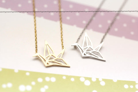 Origami Crane Necklace in gold / silver(925 sterling silver/plated over Brass)