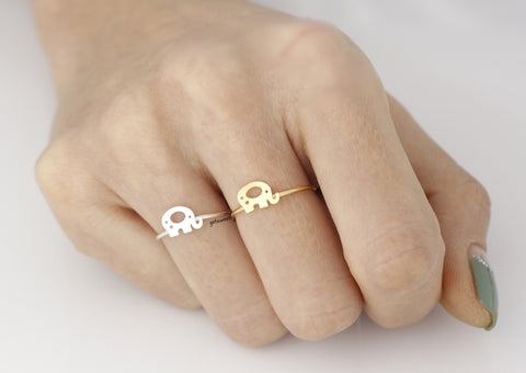 Cute elephant Knuckle Ring in silver/ gold