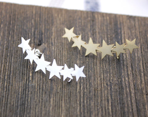 Stars ear cuff post earrings, Long Stars ear cuff, Milkyway ear cuff  in Gold / Silver, E0110G