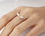 925 Sterling Silver Cute tiny Angel Wing ring -  Adjustable Ring