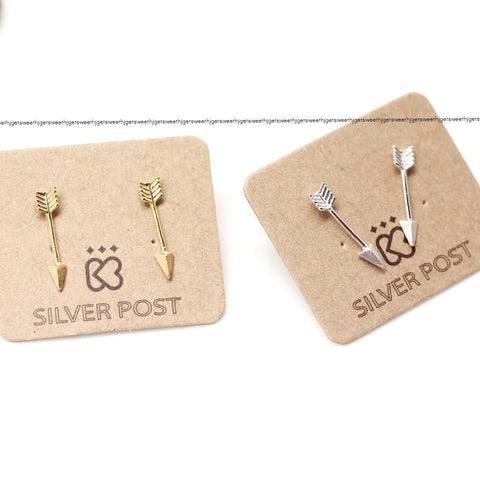 Arrow earrings in 2 colors,(925 sterling silver/plated over Brass)