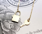 Key with Lock  Necklace in Gold / Silver (925 sterling silver / plated over Brass)