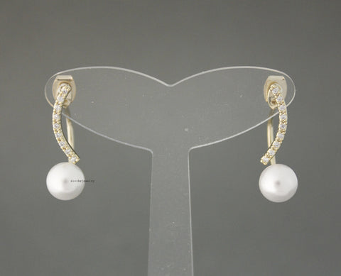 Front and Back Pearls Post Earrings, cubic bar and pearl earrings, Ear Jakets. Pearl Ear Jacket, E0549S