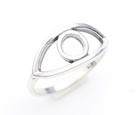 925 Sterling Silver Cut-out EVIL EYE ring