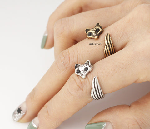 Cute Baby Fox Adjustable Wrap Ring