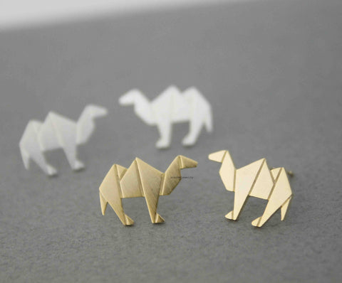 Cute Origami Camel Stud Earrings In Silver Gold E0547G