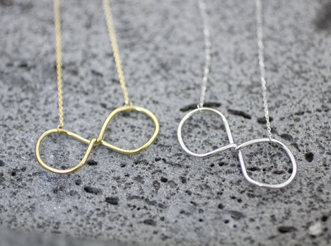 925 Sterling Silver Big Infinity statement Necklace in 3 colors