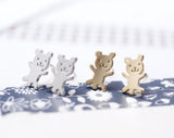 cute and unique tiny teddy bear post earrings( gold /silver)