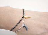 925 sterling silver Two tone Conical charm bracelet, Spike bracelet, Point charm bracelet, B1003S