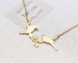 Love birds on the branch necklace in gold /silver