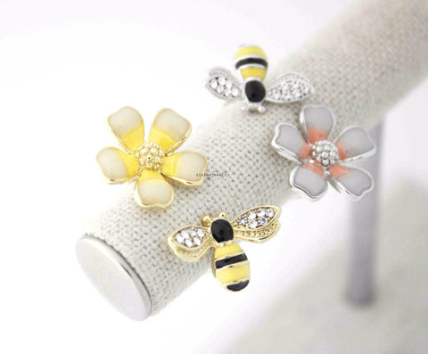 Honey Bee and daisy Flower ring in 2 colors - Adjustable Ring, R0542S