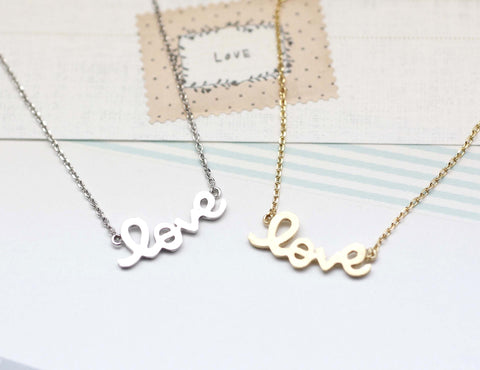 LOVE charm Necklace in gold / silver(925 sterling silver/plated over Brass)