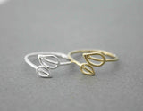 Delicate Leaf ,Leaves adjustable rings in 2 colors, R0552G