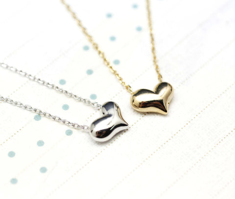 Puffy Heart Necklace in Gold /Silver