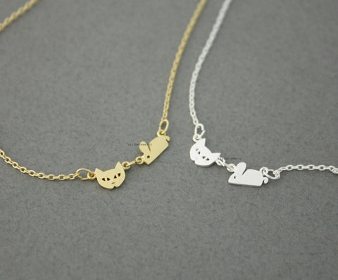 Cat and Mouse Necklace in 2 colors, N0562G