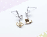 Bird and Branch dangling earrings in Gold / Silver
