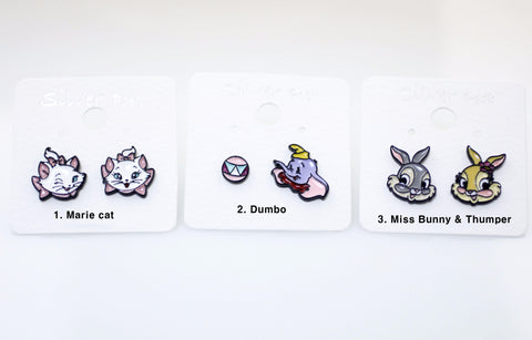 Cute Disney charactes earrings, Marie cat, Dumbo, Miss Bunny and Thumper stud earrings