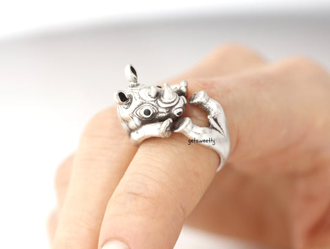 Cute Rhinoceros Wrap adjustable Ring, R0257S