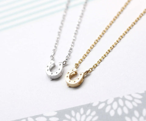 Horseshoe Necklace in gold /silver(925 sterling silver/plated over Brass)