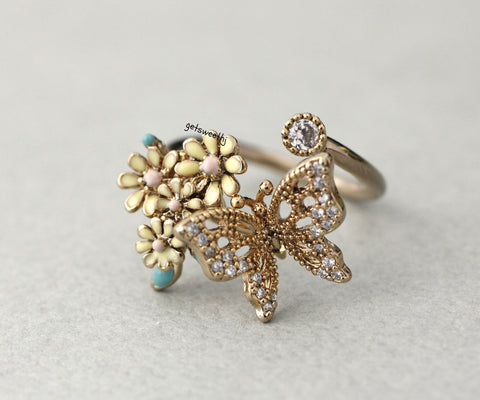 Bunch of flower Blossom and Butterfly Adjustable Ring in 4 colors, R0348S