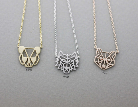 Cut-out Animal Pendant Fox , Bear, Wolf Necklace in 3 color