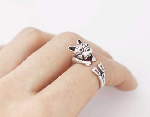 Cute french bulldog ring, bulldog Ring R0323S