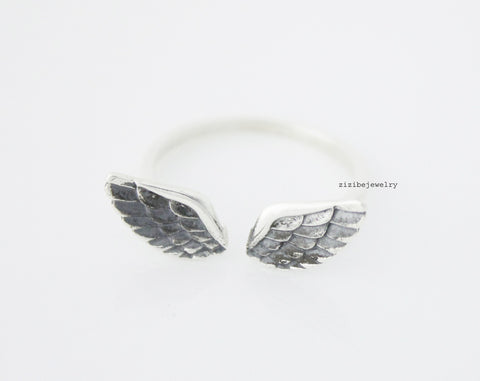 925 Sterling Silver Angel Wing ,feather ring -  Adjustable Ring, R0550S