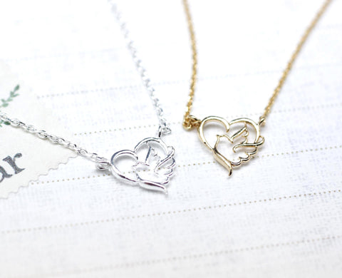 Sentimental Journey Heart and Bird Necklace in Gold/Silver