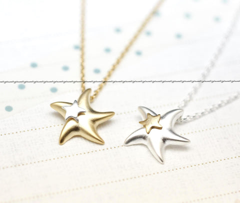 Starfish Necklace in Gold and Silver