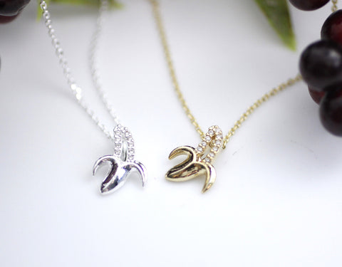 Cute BANANA pendant necklaces detailed with CZ in gold / silver, N0115G