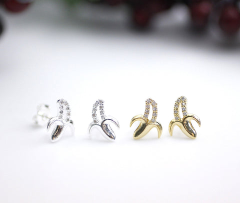 Cute BANANA stud earrings detailed with CZ in gold / silver, E0123G