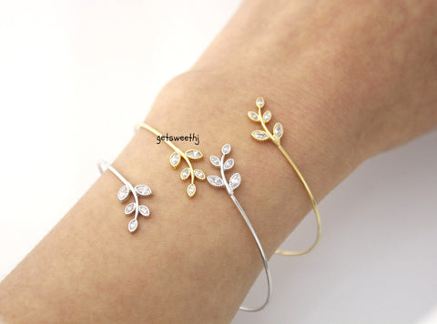 Leaves Bangle Bracelet detailed with CZ in 3 colors, B0357S