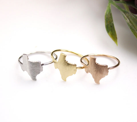 Texas (TX) Ring in gold / silver / pink gold,(925 sterling silver / plated over Brass) R0119K