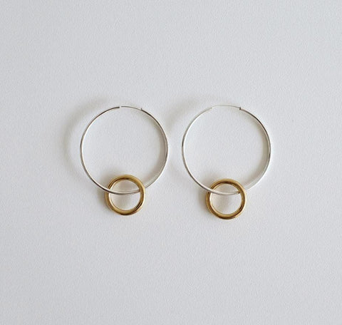 925 sterling silver Two Tone Linked Circles Earrings, Double Circle hoop earrings,Large Hoop Earrings