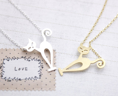 Nero Kitty Cat Necklace in Gold / Silver, N0121G