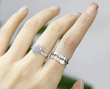 925 sterling silver Fish in Row Band Ring Double row